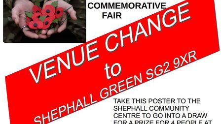 The venue for the First World War commemorative fair in Stevenage has changed to Shephall Green. If