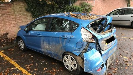 The damaged Ford Fiesta after a crash on Audley Road. Picture: SIMON CURTIS