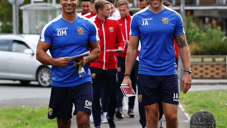 Manager of Stevenage FC Dino Maamria and fitness coach Jon Ashton take to the streets of Stevenage w