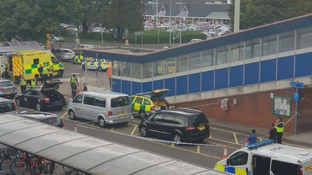 The scene after the incident outside Stevenage railway station. Picture: James Creighton