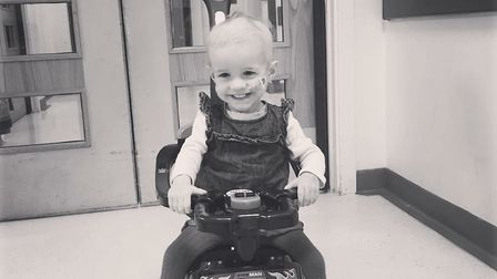 Lily-May Betts at Great Ormond Street Hospital in London. Picture: Hayley Betts