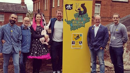 James Mayhew, Martin Impey and Harriet Muncaster wth the Hitchin Children's Book Festival team at th