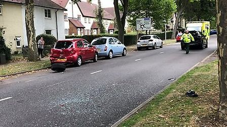 Police were called to Pixmore Way in Letchworth after a BMW was involved in a collision with two sta