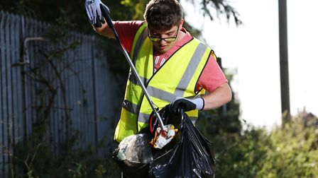 Christopher McDaid has taken it upon himself to pick up litter from his local streets in Biggleswade