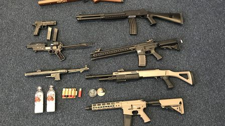 Imitation firearms seized by police in Stevenage. Picture: Herts police
