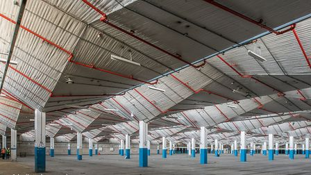 Stevenage Costco: The grade II-listed roof in the main storage area. Picture: Indigoplum