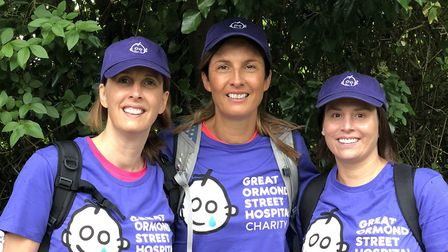 Lisa Clayton, Hayley Betts and Helen Channa during one of their training walks. Picture: Hayley Bett