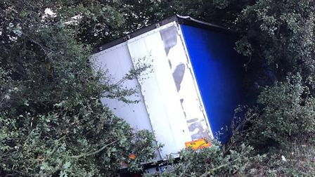 The scene after the lorry crash on the A1(M) near Stevenage. Picture: BCH Road Policing