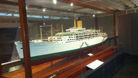 A model of SS Oronsay, where the outboard gangways can be easily seen. Picture courtesy of Douglas W