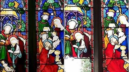 All Saints Church in Clifton shared this before and after picture of the stained glass window showin