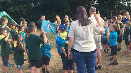 The 1st Arlesey Scout Group celebrate receiving their donation from Crane BS&U. Picture: Crane BS&U