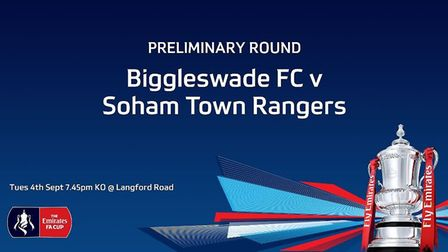 Biggleswade FC lost 5-3 to Soham Town Rangers at Langford Road in the FA Cup preliminary round. CRED
