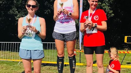Offley Place Posh 5km 2018: The ladies' podium of Anna Bruce, Nicola Amos and Charlotte Gibson. Pict