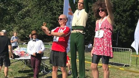 Offley Place Posh 5km 2018: The men's podium of John Cox, Andrew Lawther and Marc Hagland. Picture:
