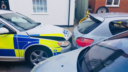 The scene after the Peugeot rammed the police car during the chase in Potton. Picture: BCH Road Poli