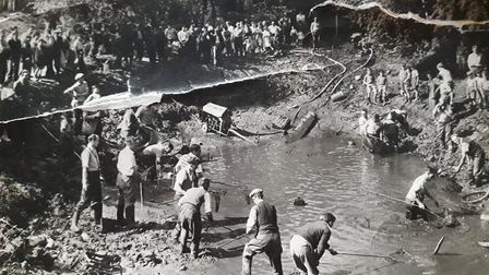 Filling in the pond at Great Wymondley. Picture undated. Picture: Wymondley Scrapbook