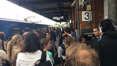 Commuters stranded at Welwyn Garden City train station. Picture: Mia Jankowicz.