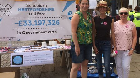 Hitchin & Harpenden Parents Against School Cuts campaigners Kay Tart and Charlotte Fairbrother (pict
