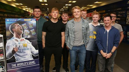 Stevenage FC players Tom Conlon and Alex Samuel with fans at last year's FIFA launch. Picture: Danny