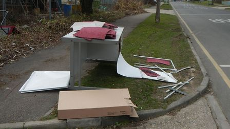 An office desk, chairs, carpet tiles and whiteboards were fly-tipped in Blackhorse Road, Letchworth.