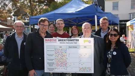 George Osborn, Paul Clark and others with the People's Vote stand in Hitchin's Market Place. Picture