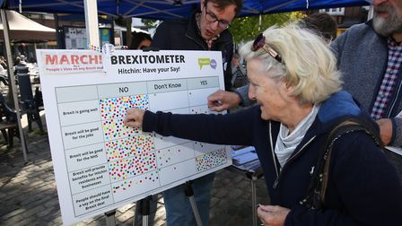 A woman puts a sticker on the Brexitometer in Hitchin's Market Place. Picture: DANNY LOO