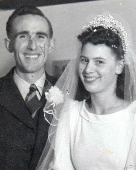 Fred and Violet Udell on their wedding day in 1947. Courtesy of: Karen Harding.
