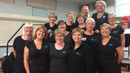 Some of the Bedfordshire and Cambridgeshire members of Phoenix Chorus. L-R Jane Butcher, Maxine Conn