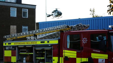 The Specialist Aviation Services Air Ambulance helicopter in attendance at The Towers in Stevenage a