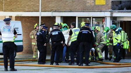 Emergency services in attendance at The Towers in Stevenage after a fire in a fifth floor flat. Pict