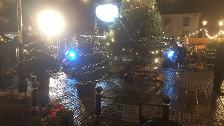 Boots Christmas advert being filmed in Hitchin Market Square. Picture: Dan Mountney