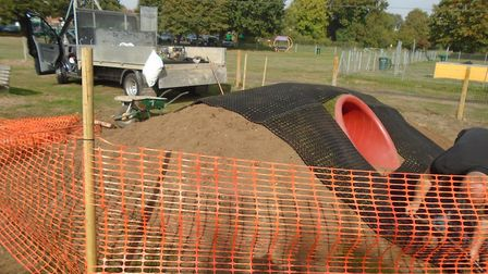Improvement works have been made to the children's tunnel in Potton's Henry Smith Playing Fields. Pi