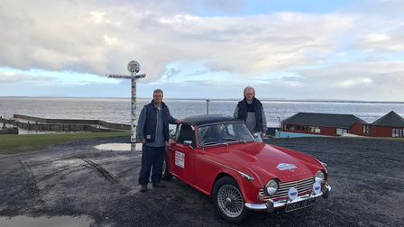 Chris Dyson and Ian Cowan at John O'Groats. Picture: CONTRIBUTED