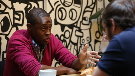 Hitchin and Harpenden MP Bim Afolami speaks to reporter JP Asher. Picture: DANNY LOO