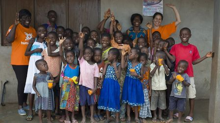 Hitchin photographer and volunteer Kasia Burke at the Humanitas Primary School in Ghana during her t