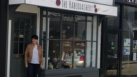 Kim Keeping outside The Haberdashery in Hitchin's Bucklersbury. Picture: Andrew Keeping