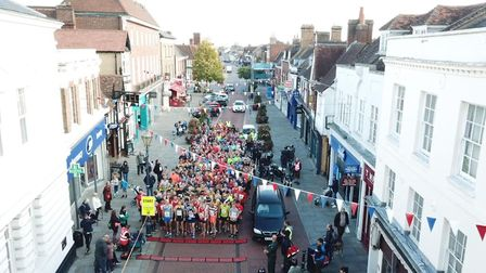 The 2018 Hitchin Town Centre 5km runners at the starting line in the High Street. Picture: Burnt Har