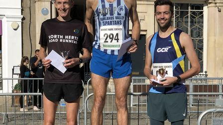 The 2018 Hitchin Town Centre 5km race first three men - Andrew Patterson, Mark Vaughan and James Hui