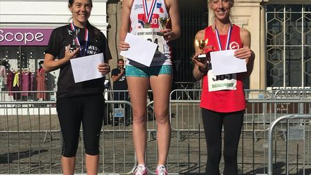 The 2018 Hitchin Town Centre 5km race first three women - Emily Hutchinson, Paula Holm and Gemma War