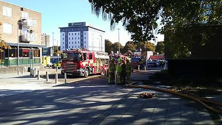 Emergency crews at the scene of the fire at The Towers in Southgate, Stevenage. Picture: Steven Le-P