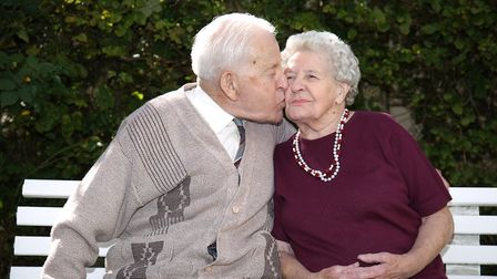 Cyril and Jean Andrews celebrate their 70th wedding anniversary together. Picture: DANNY LOO