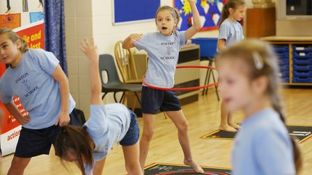 Pirton School demonstrate a PE lesson using Action Mats for Hitchin and Harpenden MP Bim Afolami. Pi