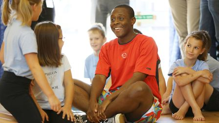 Hitchin and Harpenden MP Bim Afolami takes part in a PE lesson using Action Mats at Pirton School. P
