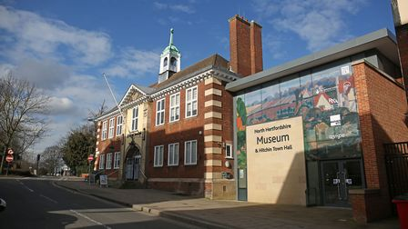Hitchin Town Hall and the would-be entrance to the North Hertfordshire Museum at 14/15 Brand Street.