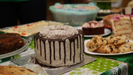 Cakes for sale at Broom Barns Community Primary School for the Macmillan Coffee morning. Picture: Da
