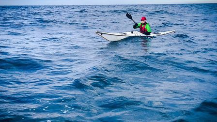 Roman Turney, 20, kayaking across the English Channel. Picture: Roman Turney