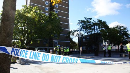 Emergency services in attendance at The Towers in Stevenage. Picture: DANNY LOO