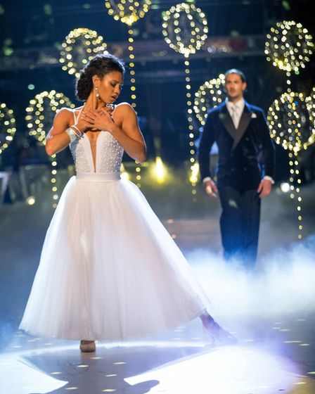 Vick Hope and Graziano Di Prima on Strictly Come Dancing, with the balloons supplied by Hitchin shop