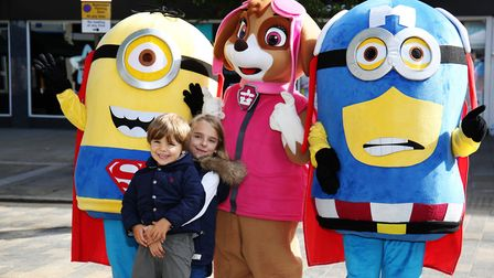 Adela, seven, and Noah Shaw, three, with cartoon characters at the Letchworth Beer & Food festival 2