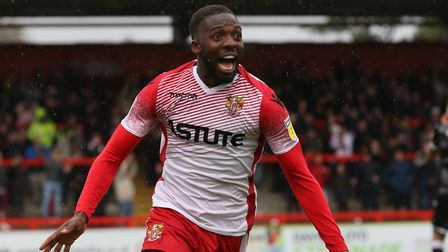 Emmanuel Sonupe of Stevenage celebrates his goal in the League Two game between Stevenage FC v Colch
